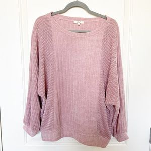 EASEL • Pink Chenille Ribbed Crewneck Sweater Sz S